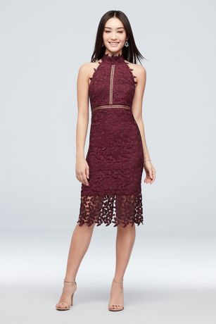 Short Lace High-Neck Dress with Illusion Details