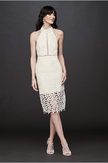 High-Neck Halter Lace Short Dress with Illusion