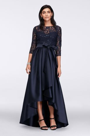 High Low Ballgown 3/4 Sleeves Dress - Ignite