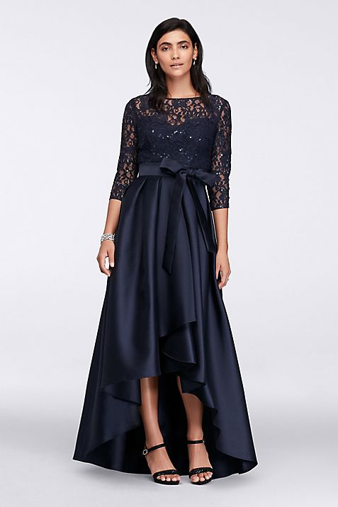 Lace Bodice High-Low Ball Gown | David\'s Bridal