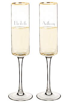 Personalized Gold Rim Contemporary Flute Set of 2