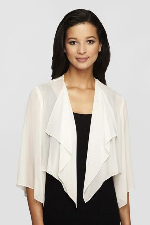 Open-Front Short Chiffon Bolero with Hanky Hem