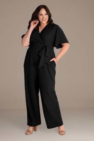 Long Jumpsuit Short Sleeves Dress - Kiyonna