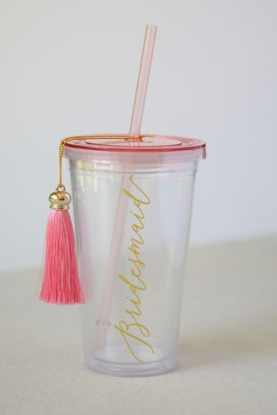 Bridesmaid Tumbler with Straw and Tassel