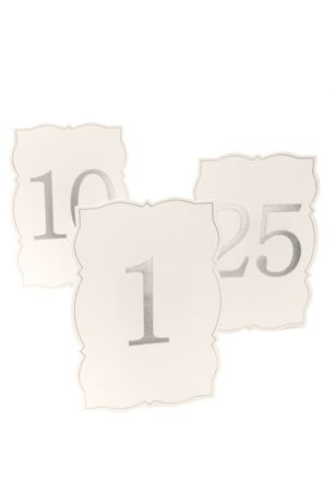 Ornate Edge Silver Foil Table Numbers