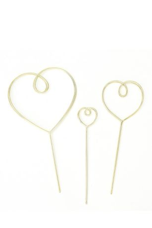 Gold Wire Heart Cake Topper Set