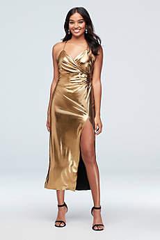 Tea Length Sheath Spaghetti Strap Cocktail and Party Dress - Bardot
