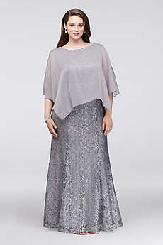 Glitter Lace Plus Size Gown with Chiffon Capelet