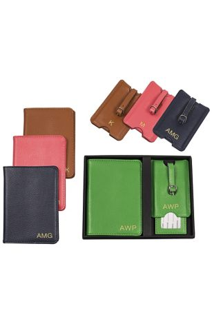 Personalized Leather Passport  and Luggage Tag Set