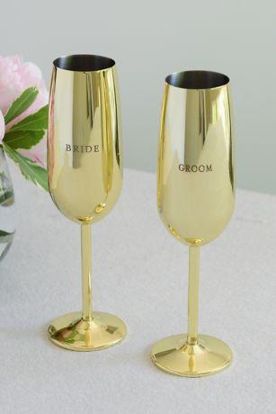 Bride and Groom Golden Toasting Flute Set