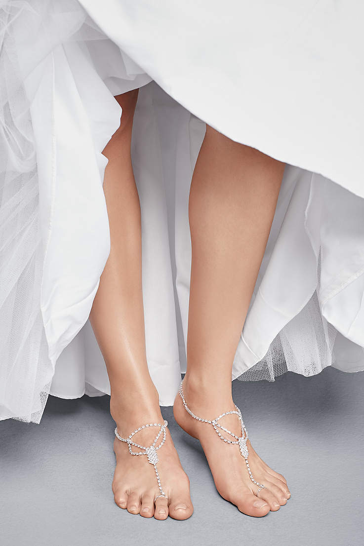 faf46261a2b David s Bridal Grey Foot Jewelry (Simple Crystal Drape Foot Jewelry with  Toe Ring)