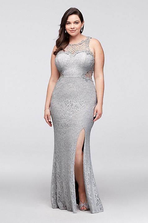 Glitter Lace Plus-Size Gown with Geometric Neck | David\'s Bridal
