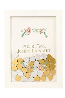 Personalized Floral Heart Drop Guest Book