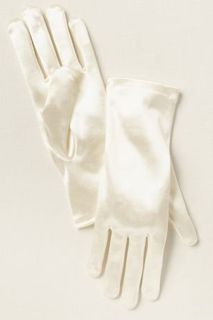 Girls Satin Wrist-Length Gloves