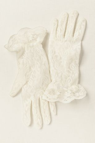 Girls Lace Wrist-Length Gloves