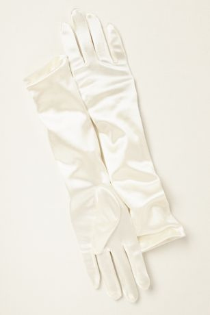 Girls Elbow-Length Satin Gloves
