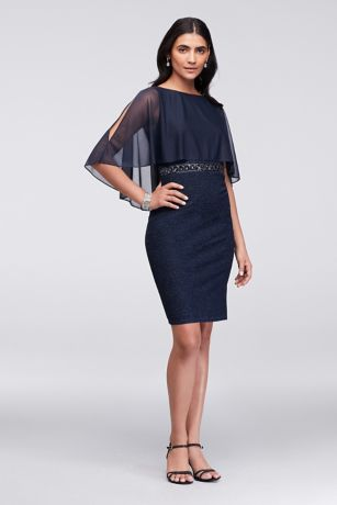 Short Sheath Capelet Dress - Cachet