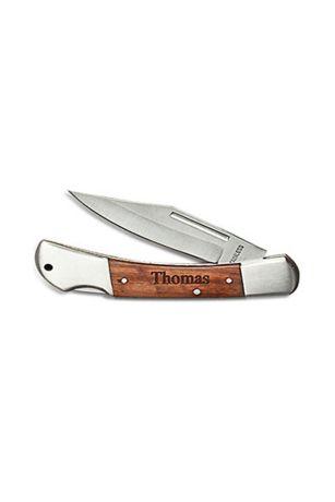 Personalized Wood Locking Pocket Knife