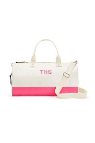 Personalized Off We Go Pink Canvas Weekend Bag
