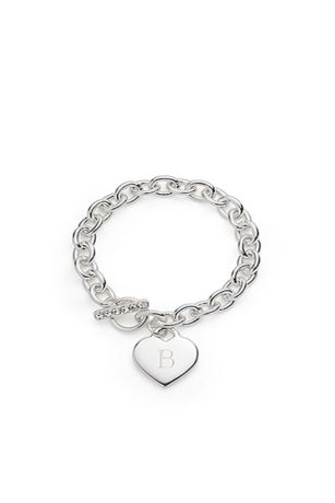 Personalized Silver Plated Heart Link Bracelet