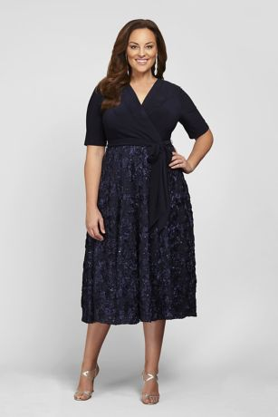 Tea Length Fit and Flare Elbow Sleeves Dress - Alex Evenings