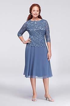 Scalloped Lace and Chiffon Plus Size Short Dress