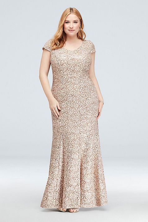 Appliqued Lace Short-Sleeve Plus Size Mermaid Gown | David\'s Bridal