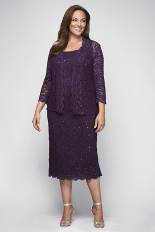 1fcba30a6ec Alex Evenings. Sequin Lace Plus Size Cocktail Dress with Jacket