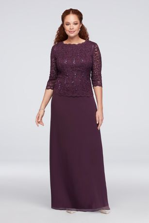 Lace Chiffon Mock Two-Piece Plus Size Gown