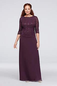 Lace Chiffon Mock Two-Piece Plus Size Gown