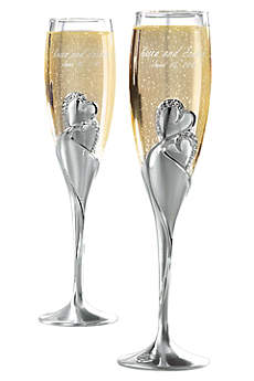 Personalized Twin Hearts Toasting Flutes