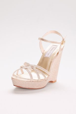 Touch Ups Grey;Ivory Heeled Sandals (Jaden Shimmer Quarter Strap Wedge Sandals)