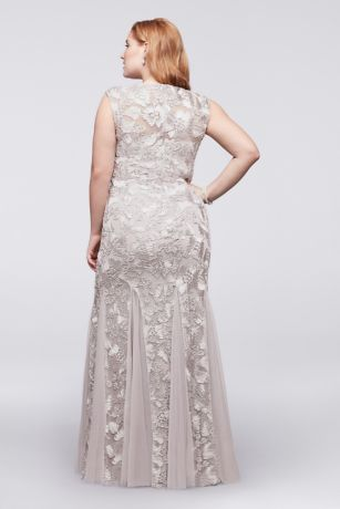 Embroidered tulle plus size dress with cap sleeves alex evenings