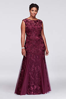 Embroidered Tulle Plus Size Dress with Cap Sleeves