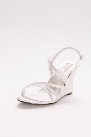 Touch Ups Grey;Ivory Heeled Sandals (Phyllis Shimmer Strappy Wedge Sandals)