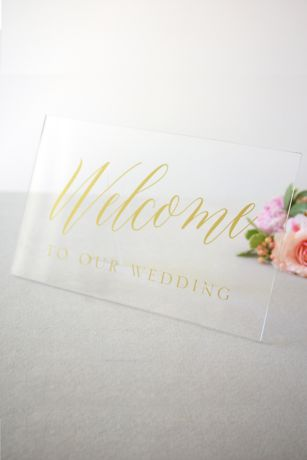 Clear and Gold Foil Welcome Sign