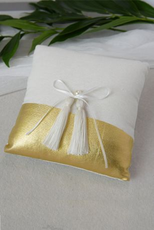 Metallic-Dipped Ring Pillow with Bow