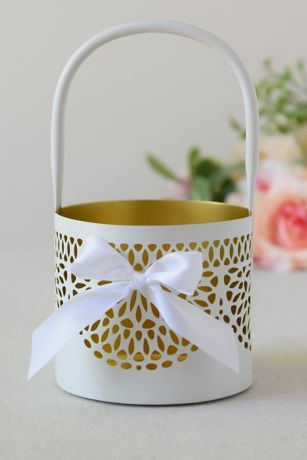 Metallic-Accented Flower Basket with Bow