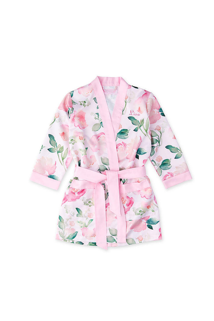 aef81b5ca Personalized Pink Floral Flower Girl Kimono Robe