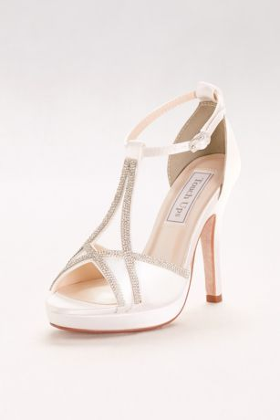 37ba6021d7f Touch Ups White (Harlow Dyeable Peep-Toe Heels with Rhinestones)