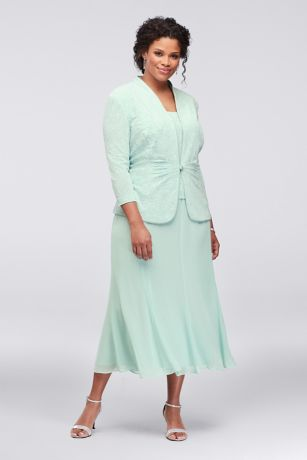 7613eb7b395ba Tea Length Sheath Jacket Dress - Alex Evenings