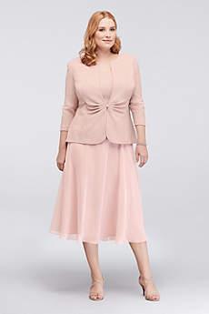 Tea Length A-Line Halter Formal Dresses Dress - Alex Evenings