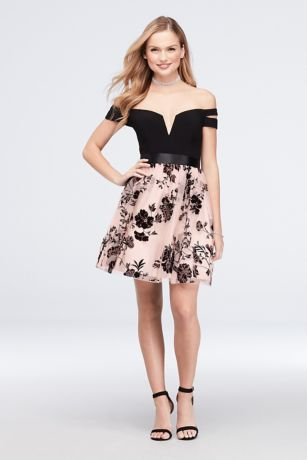 Short Ballgown Off the Shoulder Dress - Blondie Nites