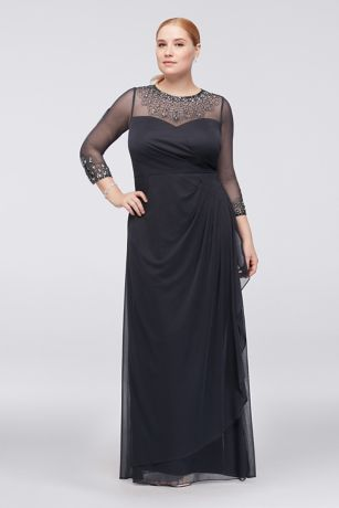 Long Sheath 3/4 Sleeves Dress - Alex Evenings