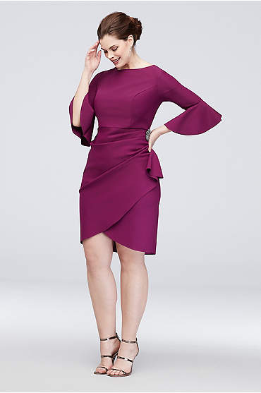 Short Cascading Bell Sleeve V-Back Sheath Dress