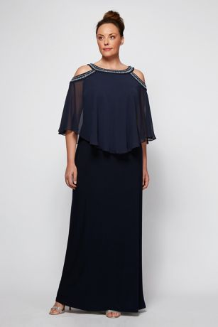 Long Sheath Capelet Dress - Alex Evenings