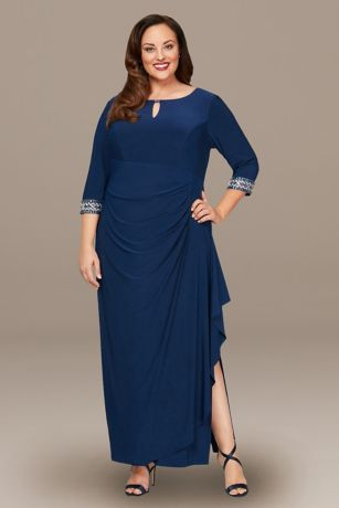 Long A-Line 3/4 Sleeves Dress - Alex Evenings