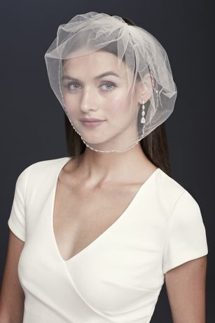 Beaded Scallop-Edged Birdcage Veil