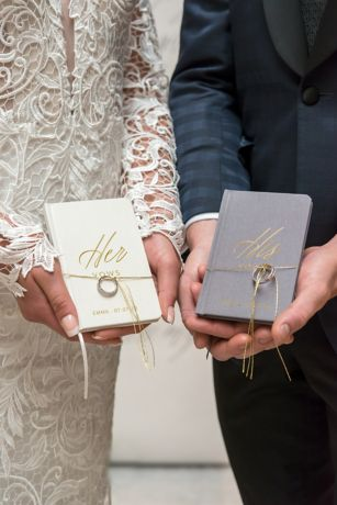 His and Hers Vows Gold Foil Embossed Notebook