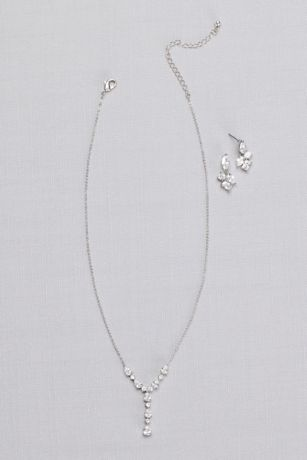 Cubic Zirconia Clusters Y-Necklace and Earring Set